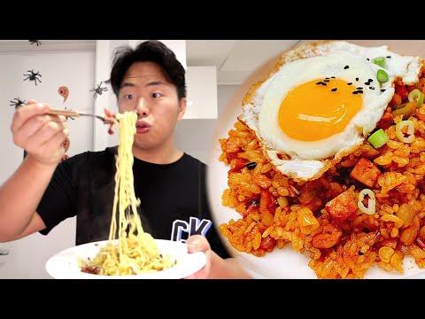 3 Простых Корейских Рецепта! Доширак Карбонара и острый рис со SPAM