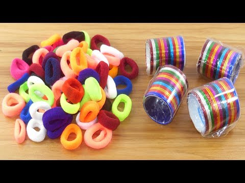 Hair rubber bands & Old bangles crafts for beautiful home deco | DIY art and craft | DIY HOME DECO