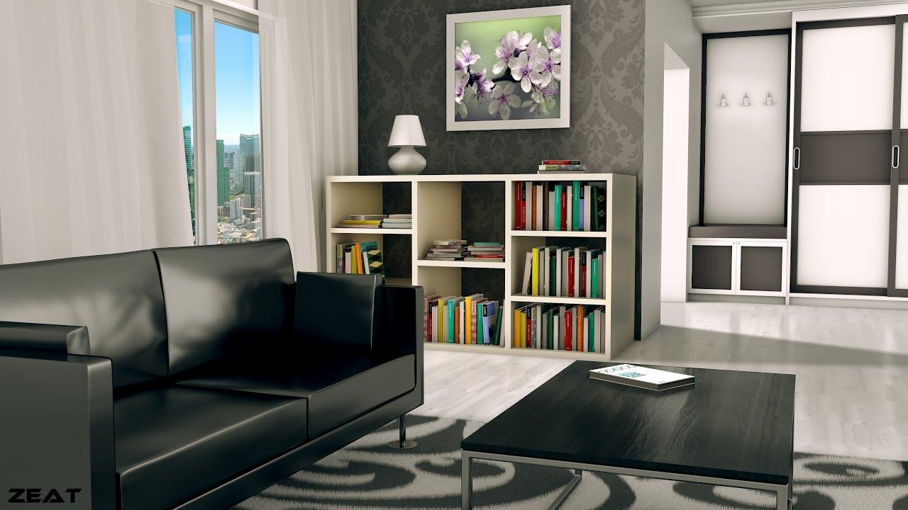 TIMELAPSE | Living Room With Books. (Blender, Cinema4D)