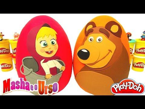 Dois Ovos Surpresas Gigantes de Masha e o Urso em Português Brasil de Massinha Play Doh