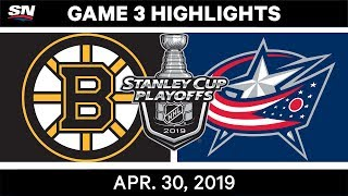 Matt Duchene scored on the power play and the Columbus Blue Jackets held on to defeat the Boston Bruins in Game 3.
