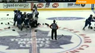 Массовая драка в хоккее: клубы Торонто и Баффало устроили
