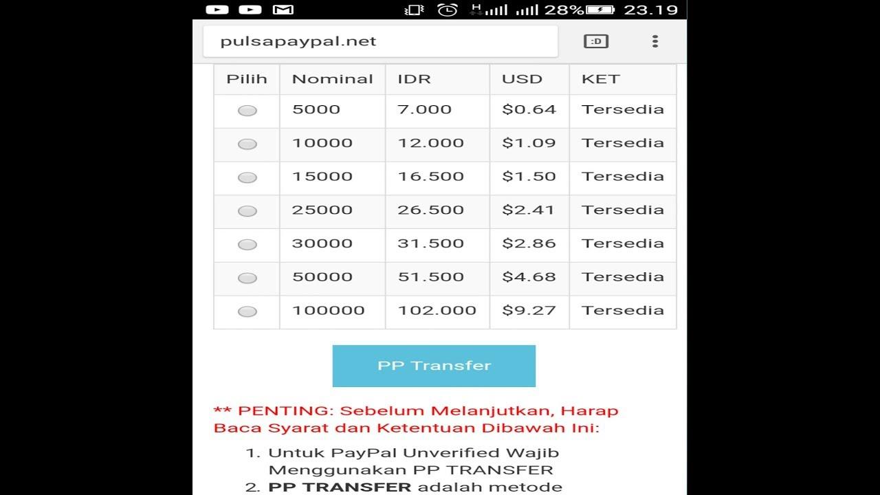 Cara Mudah Beli Pulsa Online Menggunakan Saldo Dollar Paypal