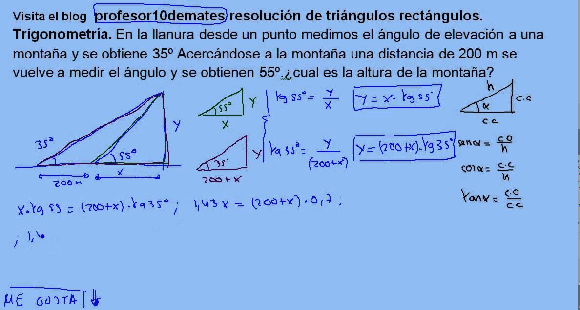 Resolución de triángulos rectángulos , trigonometría 17 Problemas ...