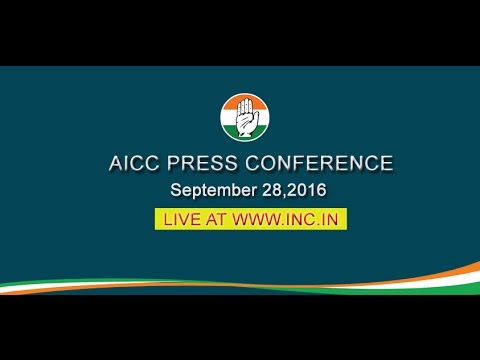LIVE : AICC Press Conference addressed By Manish Tewari, 28 September 2016