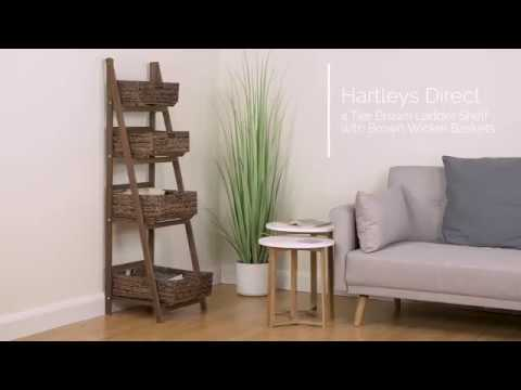 4-tier-brown-ladder-shelf-with-brown-wicker-basket-set