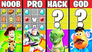 Minecraft Battle: TOY STORY 4 CARTOON CRAFTING CHALLENGE - NOOB vs PRO vs HACKER vs GOD ~ Animation