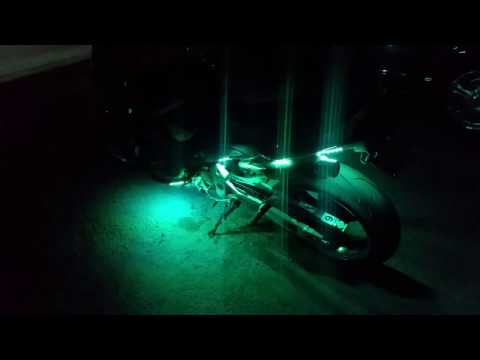 Remote controlled LED light kit on motorcycle
