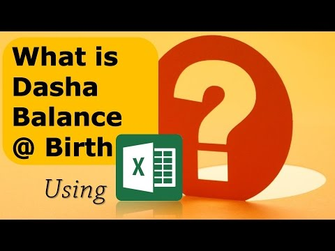 What is Dasha Balance at Birth? using MS Excel