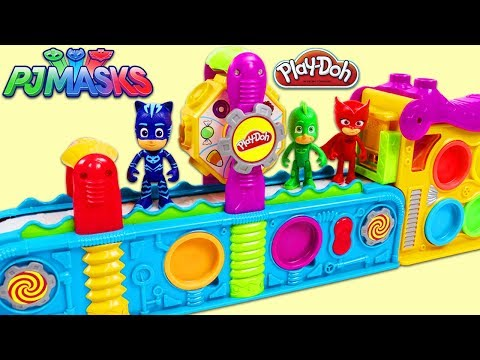 PJ MASKS Catboy Gekko and Owlette Use Play Doh Mega Fun Factory Playset to Collect Surprise Toys!