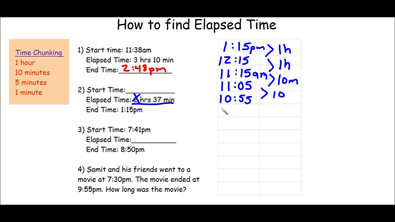 worksheet Elapsed Time how to find elapsed time youtube time