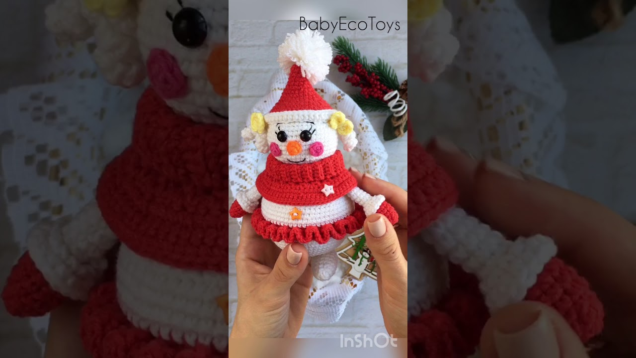 PLUSH CROCHET SNOWMAN Hand Knitted Amigurumi Toy Unique Gift | Etsy | 720x1280