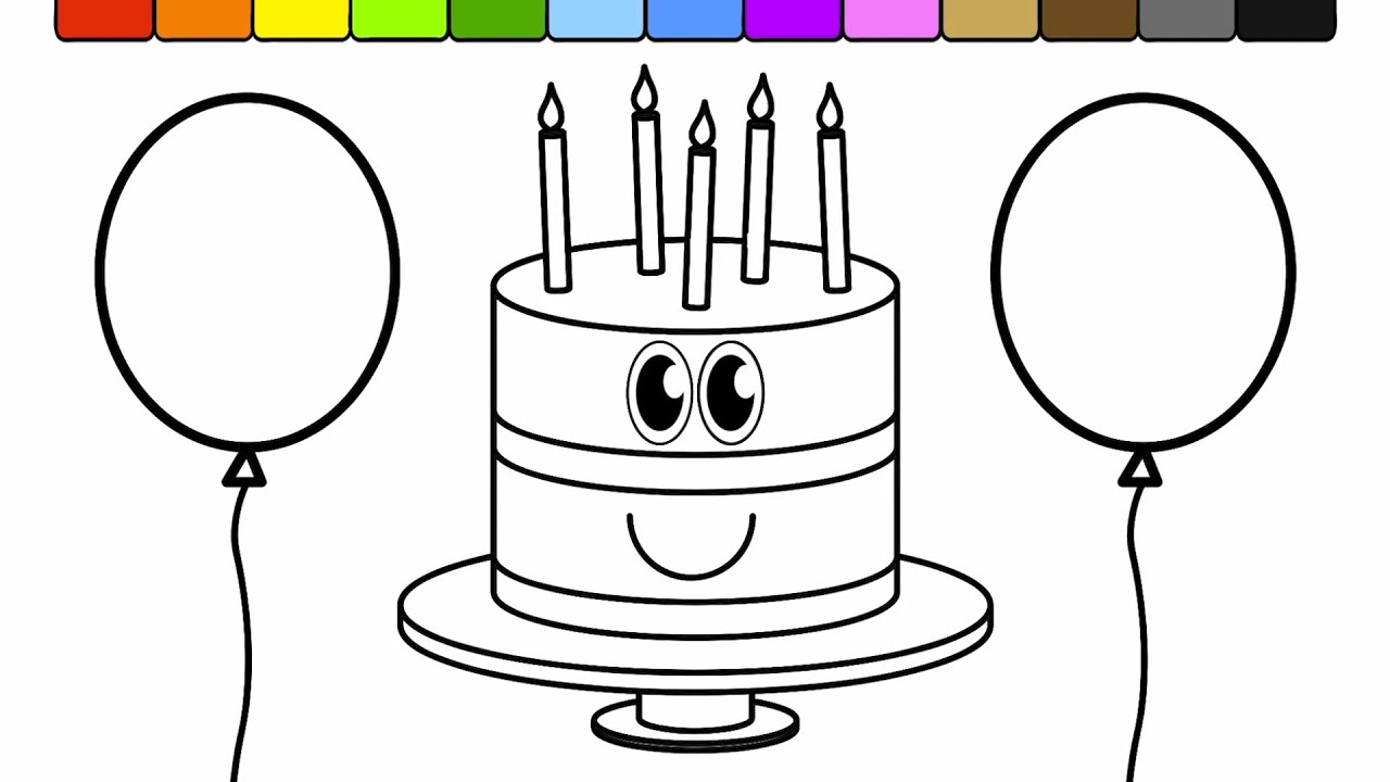 learn colors for kids with this birthday cake balloon coloring page 2 youtube