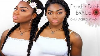 French/Dutch Braids/ Cornrows On Lace Front Wig. 5 Minute Hairstyle.