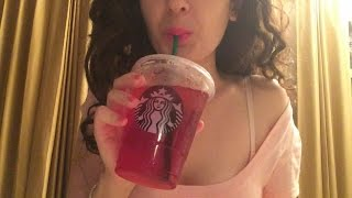 ASMR Eating Starbucks Classic Grilled Cheese and Peach Passion Tea