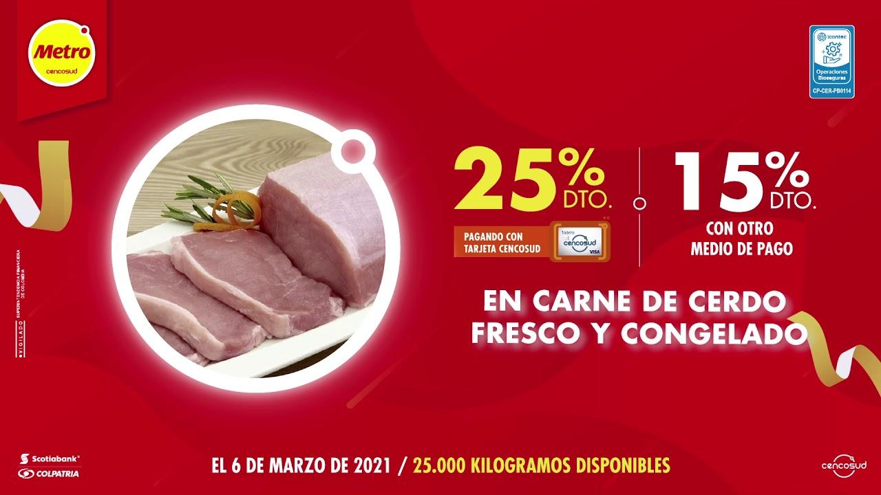 25% de descuento en carne de cerdo fresco y congelado pagando con tu Tarjeta Cencosud