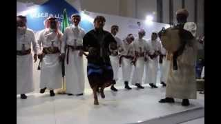 Music and dance ensemble from Rijal Alma, Asir, Saudi Arabia, in the Abu Dhabi Book Fair 2013