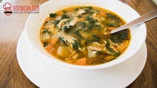 Пилешка супа със спанак и ориз