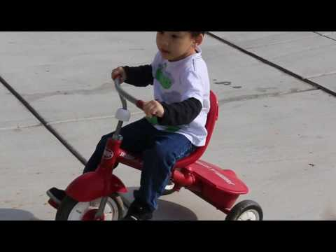 Kid Learning & Playing: Riding Red Radio Flyer Tricycle
