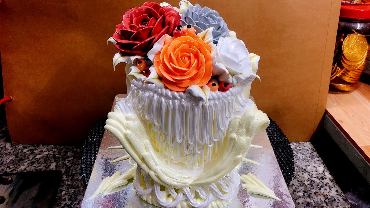Cake decoration 2 floors at home - bánh sinh nhật 2 tầng đẹp ( 596 )