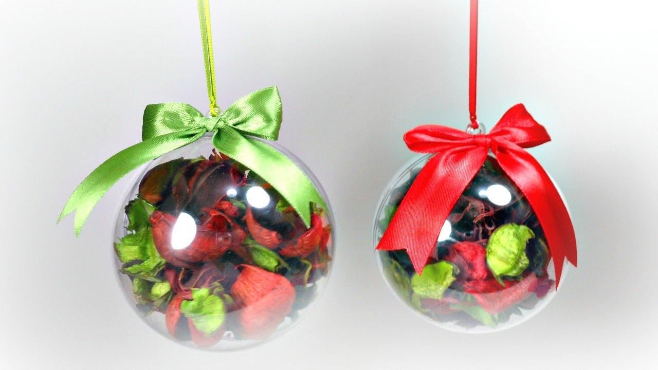 Ideas de navidad 1 bolas navide as con hojas secas f cil youtube - Bolas navidad transparentes ...