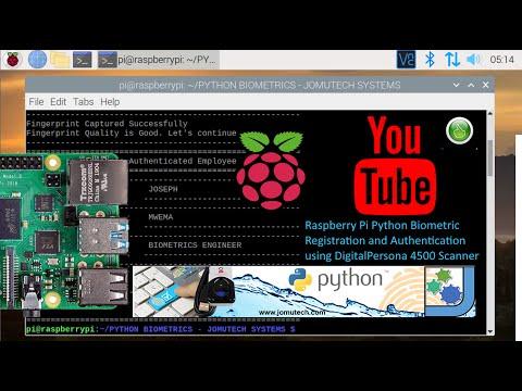 Raspberry Pi Python Biometric Registration and Authentication Using DigitalPersona 4500 Fingerprint
