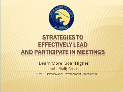 Strategies to Effectively Lead and Participate in Meetings