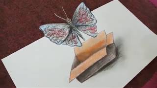 3D Trick Art : Butterfly Drawing and Coloring