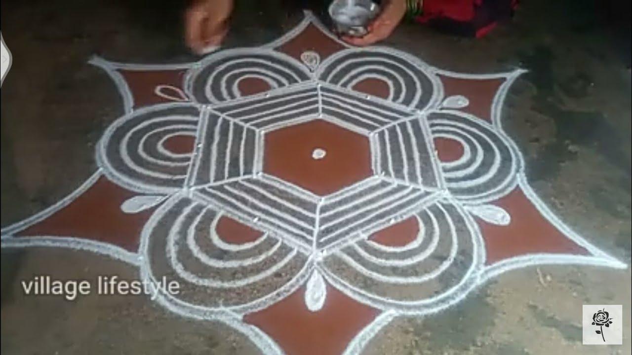 Aadi madam special// flowers PADI Kollam// easy rangoli//village lifestyle// pandaga muggulu//05