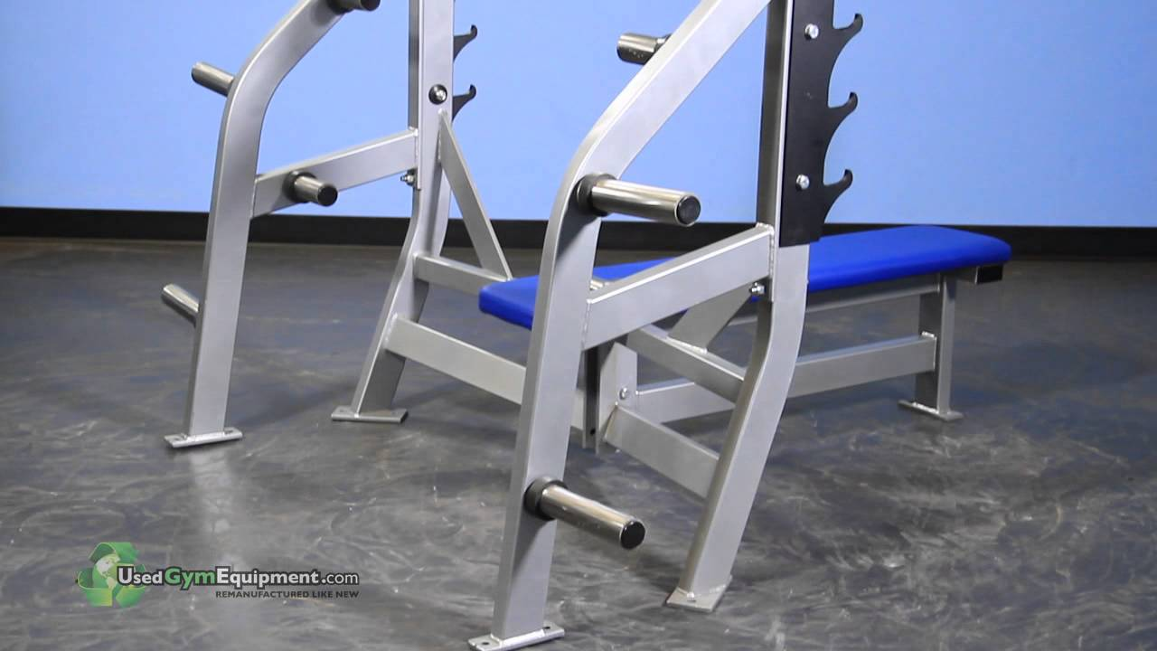 Used Bench Press With Weights Part - 50: Hammer Strength Olympic Flat Bench W/ Weight Storage. Used Gym Equipment