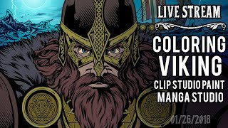 Coloring a Viking illustration for apparel LIVE in Clip Studio Pain