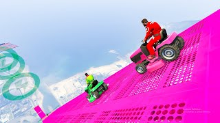 12-Player Down Hill Lawn Mower Stunt Race  - GTA V Online Funny Moments | JeromeACE