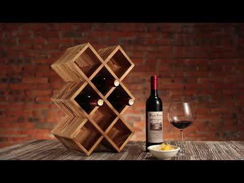 Men Vintage Wine Rack Single,Wood Gift for Him ,Desktop Decoration