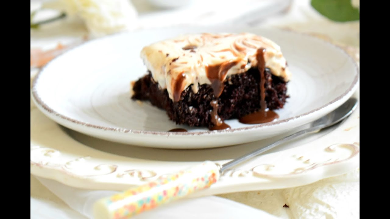 Chocolat Poke Cheese Cake-A real treat for🍫 lovers! Just whisk pour and bake! It's as easy as that!