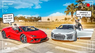 ANGRY LAMBO DRIVER CALLS OUT MY AUDI R8 TO A 20K RACE ! ( BIG F!GHT) | BRAAP VLOGS
