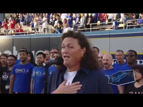 Gay and Trans choruses joined Dot Marie Jones for Dodgers National Anthem