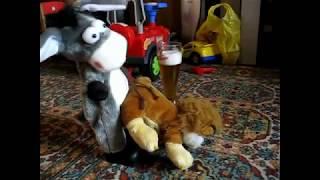 Ослик занимается этим со львом. А потом с собакой.