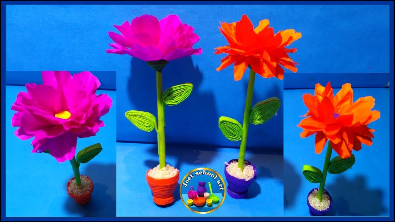 Paper Flower With Pot Easy Paper Craft