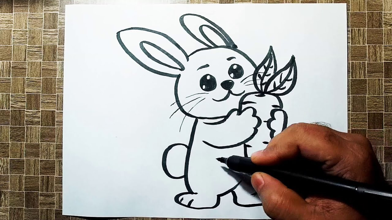 How To Draw A Bunny With Carrot Cute Rabbit Cartoon Drawing Youtube