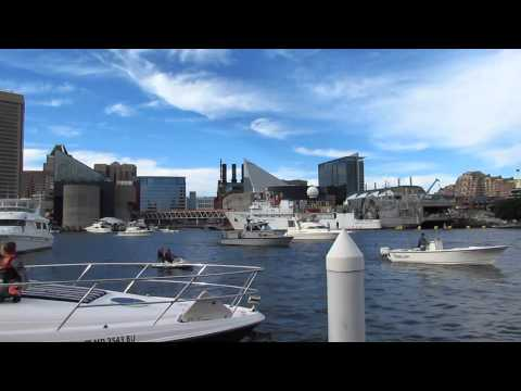 Baltimore Inner Harbor. Boats. Traffic.