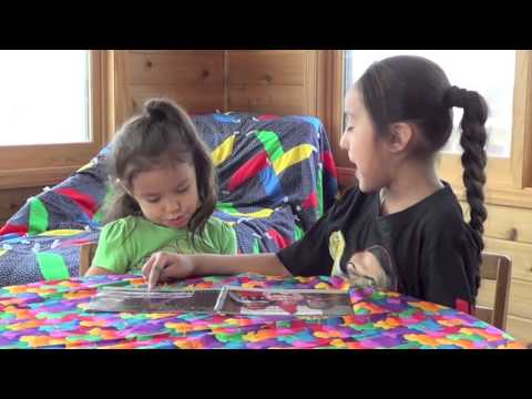 Jayden and Tamia learning the Ojibwe language