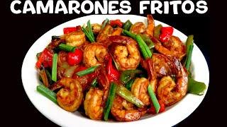 Camarones fritos con vegetales estilo Asiático