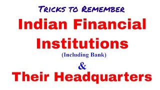 Indian Financial Institutions (Including Bank)  and Their Headquarters | Static Gk  [In Hindi]