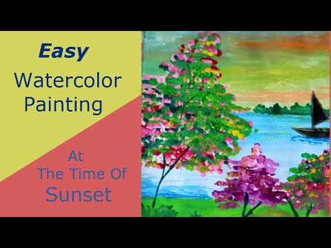 Easy Watercolor Painting | Landscape Painting | With AcrylicColor touch up| For Beginners | Ft:- 2 |
