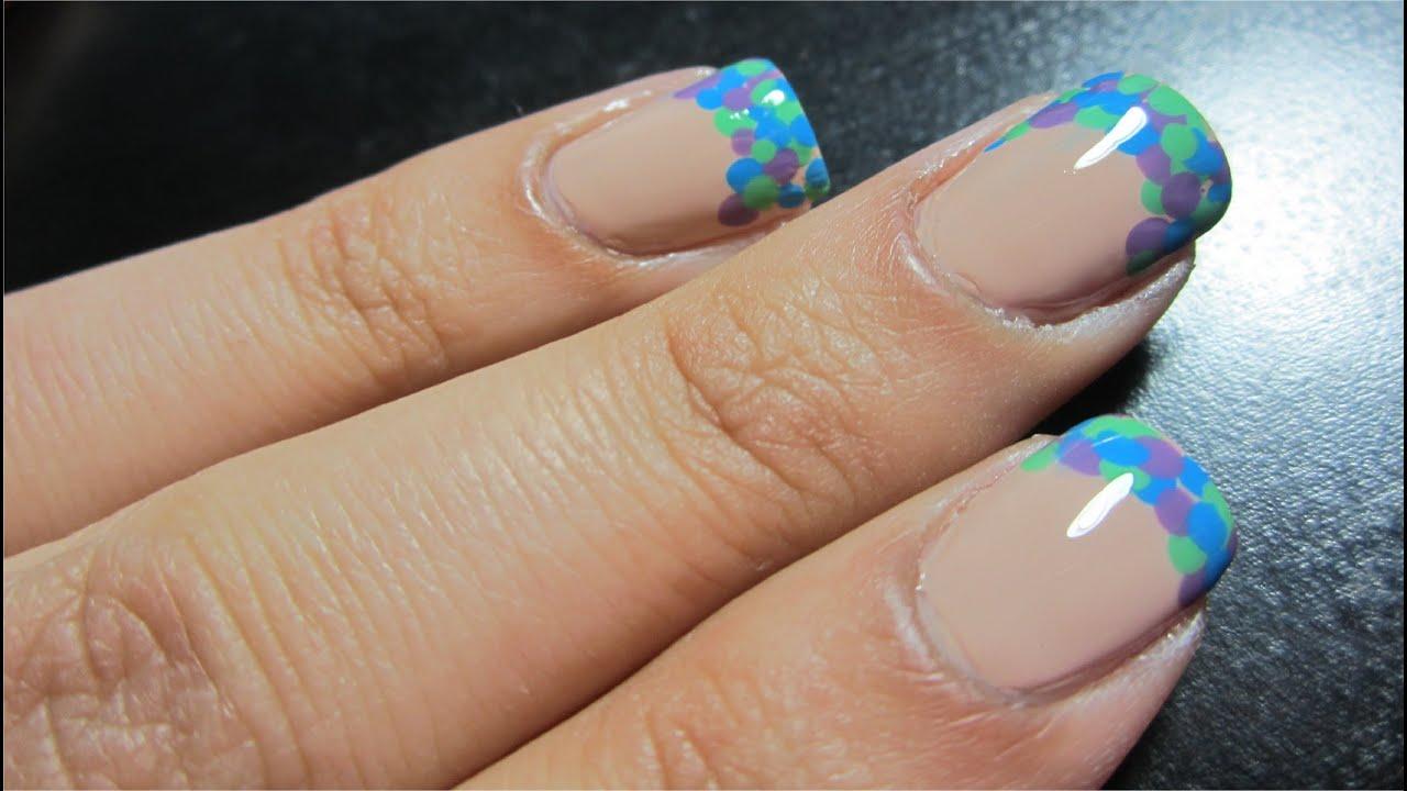 Nail Art Tutorial -- Polka Dot French Tip Manicure - YouTube