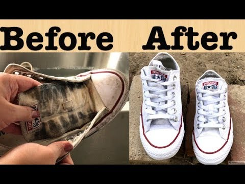 HOW I CLEAN MY  WHITE CONVERSE || Mermishell beauty 2017