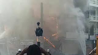Le feu qui s'est déclaré dans Pointe à Pitre en Guadeloupe à 8h30
