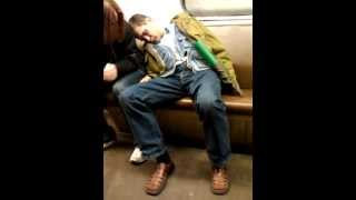 Drunk guy in moscow subway.