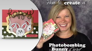 How to make a Photobombing Bunny Easter Picture Frame Card with Stampin Up