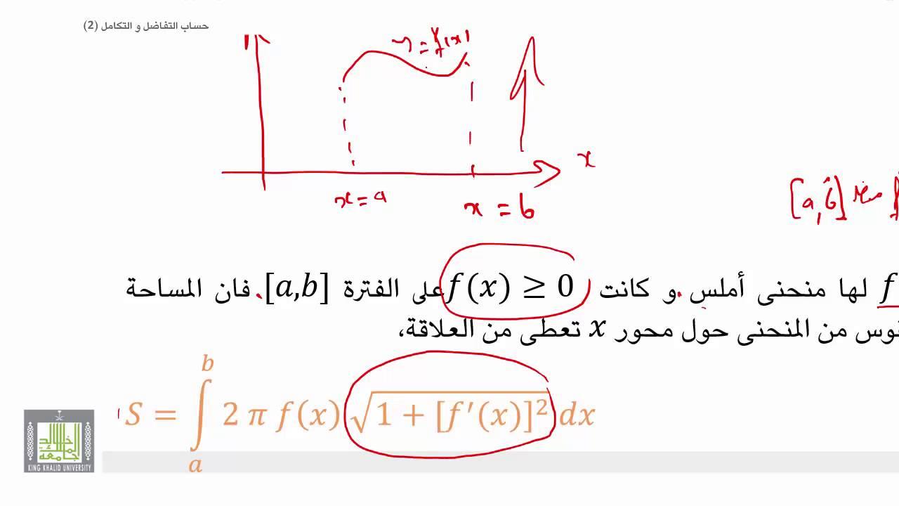 حساب التفاضل و التكامل 2 |  الوحدة 2 |  حساب المساحة الدورانية لقوس من منحني أملس